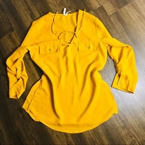 Tops - Mustard Yellow chest tie detail blouse